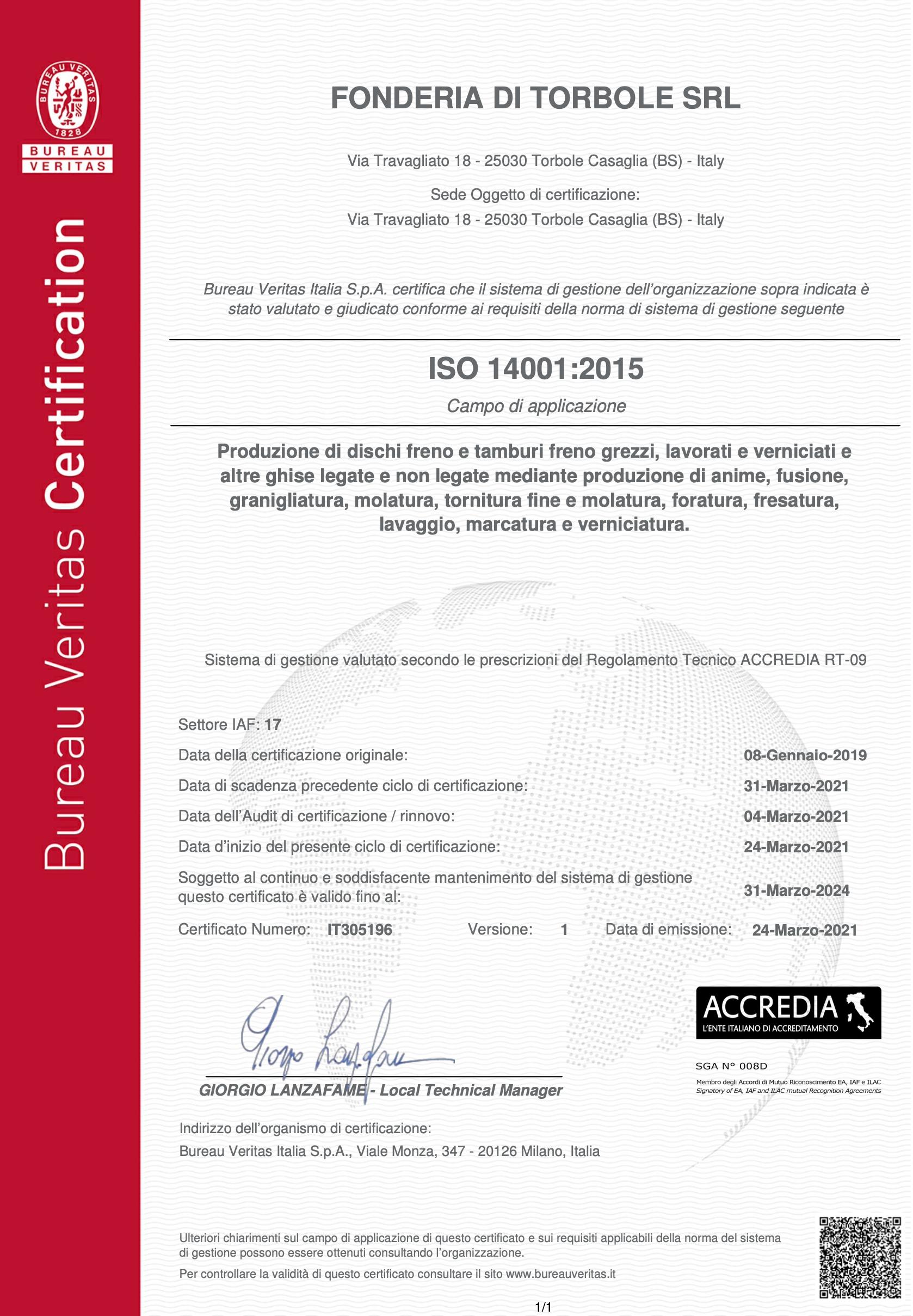 certificato 14001 ITA